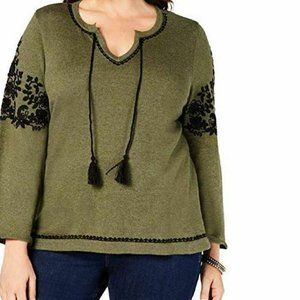 Style & Co 1X Green Black Embroidered Top NWT O31